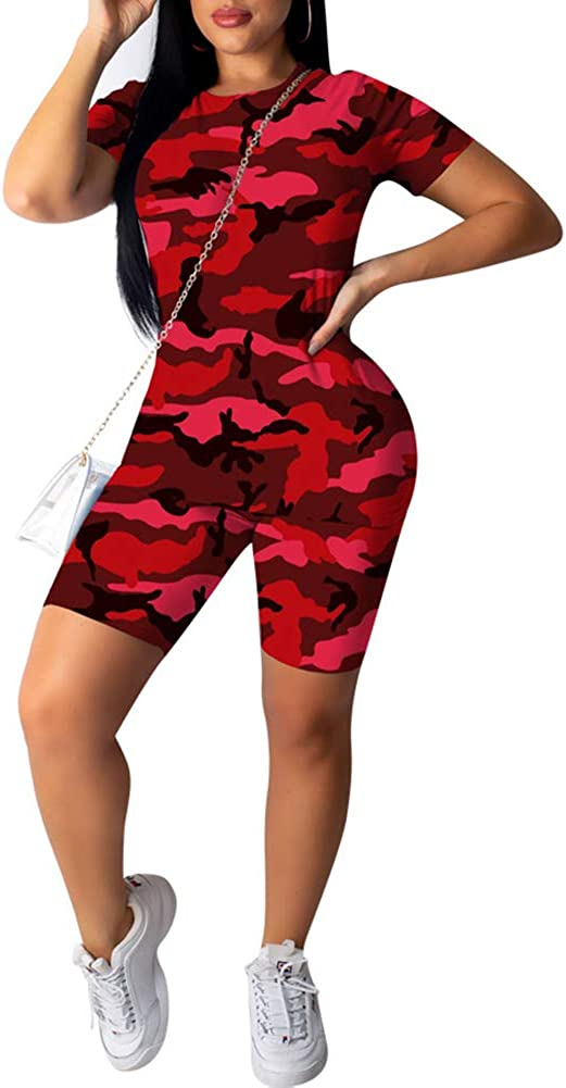 Ophestin Camo Print 2 Piece Outfits Max 85% OFF OFFicial shop Sports PC Cam Rompers Sets