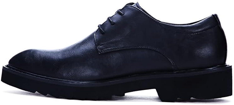 Willsego Herren-Halbschuhe Flache Ferse Spitze PU-Leder Schnürung einfarbig Business-Schuhe Abriebfest (Farbe  Schwarz, Gre  9.5MUS) (Farbe   -, Gre   -)