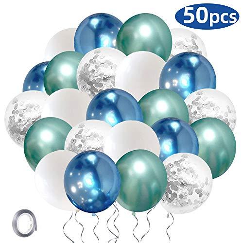 SKYIOL Luftballons Geburtstag Blau Grün Weiß Silber Helium Ballon 30 cm Metallic Konfetti Latex Ballons mit 10m Silber Ballon Band für Junge Baby Shower Hochzeit Taufe Jubiläum Party Dekoration