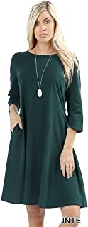 Casual T-Shirt Knee Length Swing A-line Elegant Dress for Women w/Long Sleeves and Side Pockets