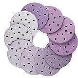 6 Inch 17 Hole Sanding Discs, 100PCS 40 60 80 120 180 220 240 320 400 800 Grit Assorted Professional Sandpaper by LotFancy, Hook and Loop Random Orbital Sander Round Sand Paper
