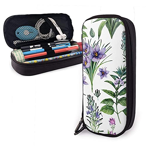 XCNGG Estuche para lápices neceser Watercolor Botanical Collection Of Herbs And Spices Variety Face Towel Leather Pencil Case Pouch Zippered Pen Box School Supply For Students Big Capacity Stationery