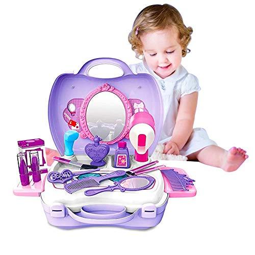 SOWLFE Juego de rol de Juego de Maquillaje de Juego de simulación, Juego de Maquillaje, Belleza de Moda Princesa cosméticos Maleta Regalo para niños niñas