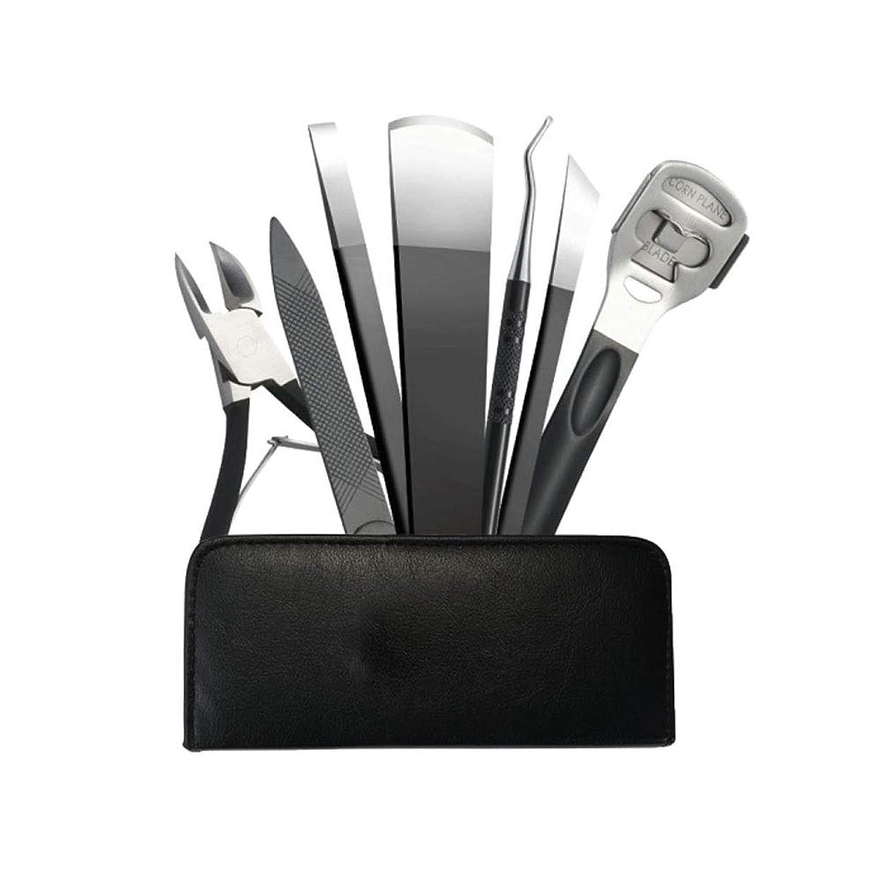 アセンブリナチュラルはしごマニキュアツール、7ピースのプロフェッショナルペディキュアナイフセット、高品質のステンレス鋼、シャープで耐久性のある (Color : Silver)