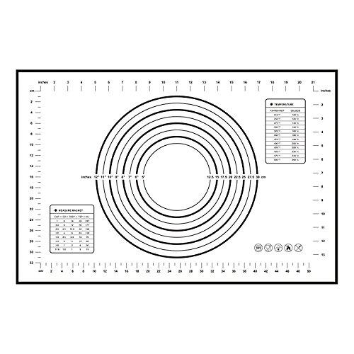 HBlife 1 PC Extra grande alfombrilla de horneado de silicona con las mediciones (60 x 40 cm) (Negro)