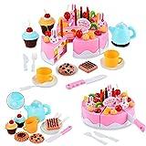 Itian 54pcs Magische Küche Regenbogen Kuchen-Tee-Set, Kreative Montage Spielzeug (Rosa)