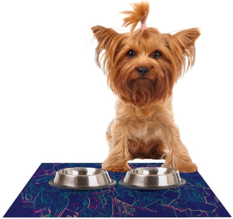 KESS InHouse Kathryn Pledger Night Life  Feeding Mat for Pet Bowl, 24 by 15Inch