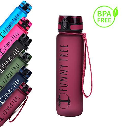 Funny Tree® Trinkflasche aus Tritan. 1000ml Very Berry. Water Bottle BPA frei und auslaufsicher! Ideal als Sportflasche, Wasserflasche und beim Wellness, oder auf All deinen Outdoor Aktivitäten