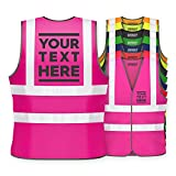 Hi Vis Personalised Vest Safety Reflective Waistcoat Security Hi Viz (XL, Pink)