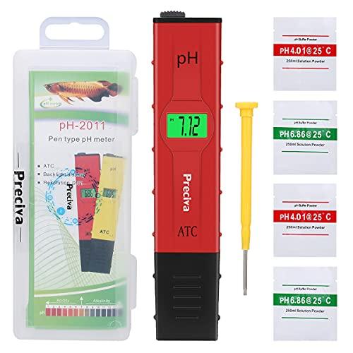 PH Mètre, Preciva PH Mètre Numérique avec Grand écran LCD Rétroéclairé 0,00-14,00 PH Plage de Mesure Testeur de L'eau pour aquarium, Piscine, Laboratoire, Urine, etc avec la Poudre de Calibrage