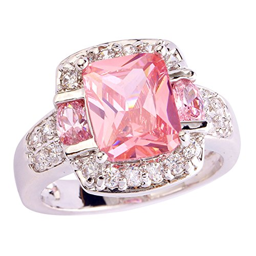 Veunora Jewelry 925 Sterling Silver Pink Topaz Gemstone Filled Engagement Ring Size 7