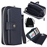 DRUnKQUEEn iPhone SE Case, iPhone 5s Case, Premium Leather Zipper Wallet Case Magnetic Removable Folio Flip Holster Purse Clutch Cover Card Holder with Wrist Strap for iPhoneSE / iPhone5s / iPhone5