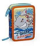 Shark 14164 - Estuche triple relleno, 44 accesorios escolares, 20 centímetros