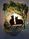 Kitty Cat Twins Black Silhouette Tree Recycled Glass Artisan Night Light Nightlight Unique Eco Gift
