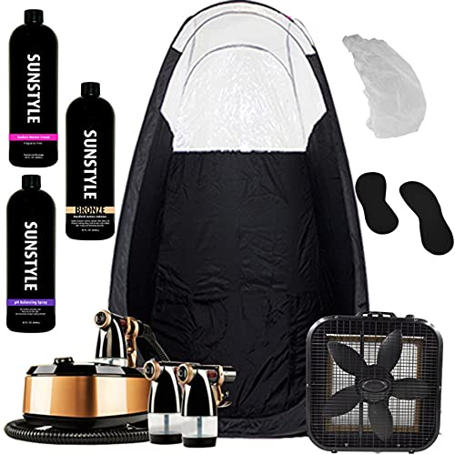 Sunstyle Sunless Complete Spray Tan Kit | Includes: Mobile HVLP Turbine Compressor, Spray Gun, Pop Up Tent, Over Spray Reduction Fan, Sunstyle Sunless Barrier Cream, pH Balancing Spray, Bronze Airbrush Solution, and More!