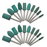 Brocas de goma para pulir en forma de cilindro de bala, herramienta Dremel, taladro eléctrico, accesorio de herramienta rotatoria de 3 mm, mandril de 20 piezas