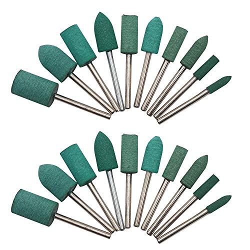 HEYMOUS Rubber Polishing Bits Bullet Cylinder Shape Polishing Burrs Bit,Electric Drill,Rotary Tool Accessories 3 mm Mandrel 20 Pieces (Green)