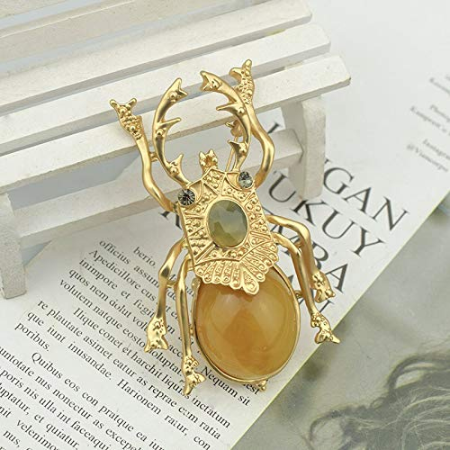 JWGD Dung Beetle Brooches for Women Accessories Gold Metal Pins Insect Scarab Brooch Large Resin Broches Fashion Jewelry Gifts (Metal color : Gold A)