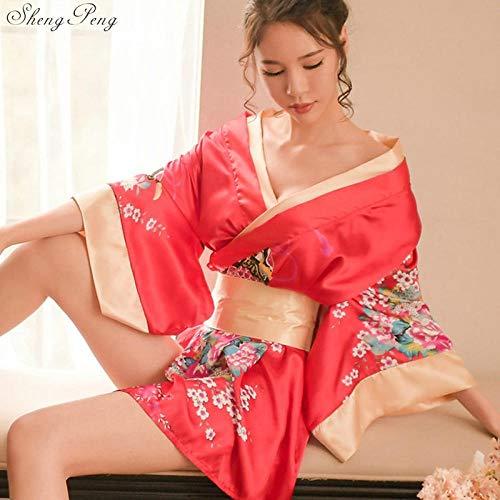 Las Mujeres Japonesas del Kimono Floral del Kimono del Traje del Camisón De La Ropa De Noche Yukata Elegante SPA Japón Disfraces Cosplay Sexy Casual Hyococ (Color : 2, Size : One Size)