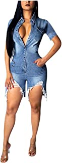 Raylans Women`s Destroyed Denim Jumpsuit Bodycon Nightclub Party Short Rompers