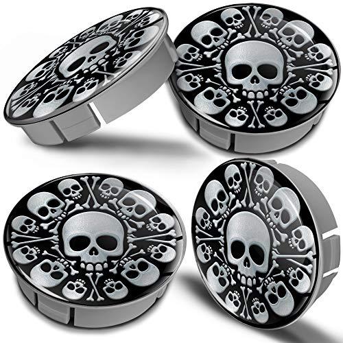 Biomar Labs® 4 x 60mm plastic naafdoppen doppen zilver schedel doodskop Silver Skull velgdeksel wieldoppen wielnaafdop auto tuning CS 8