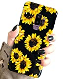J.west Case for Galaxy S9+ Plus Vintage Floral Cute Yellow Sunflowers Black Soft Cover for Girls/Women Flex TPU Silicone Slim fit Fashion Design Pattern Drop Protective Case for Samsung Galaxy S9 Plus