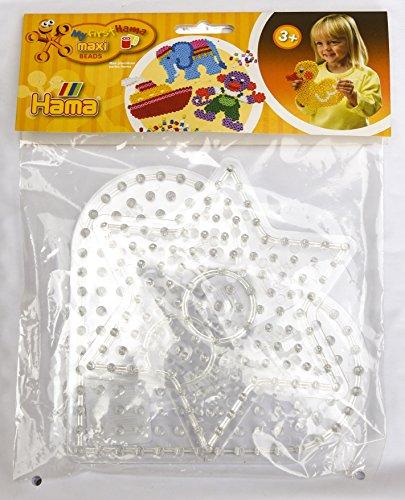 Hama Maxi Perlen 8273 - Beutel mit Stiftplatte 8206 Herz und 8221 Stern