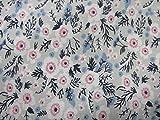 Confección Saymi Tela Liberty Floral 100% algodón Estampado 2,45 MTS Ref. Poppy Gris, Doble Ancho 2,80 MTS.