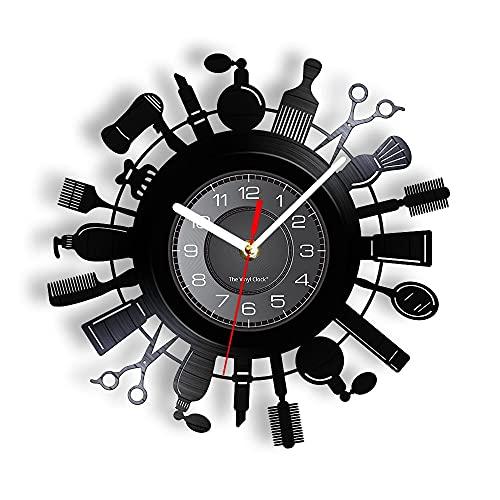 """LINMING Reloj de Pared de Vinilo Herramientas de peluquería Decoración de Pared Clcok Salón de Belleza Necesidades Champú Perfume Peine Reloj de Pared Elegante decoración de peluquería - 30cm.12"""""""