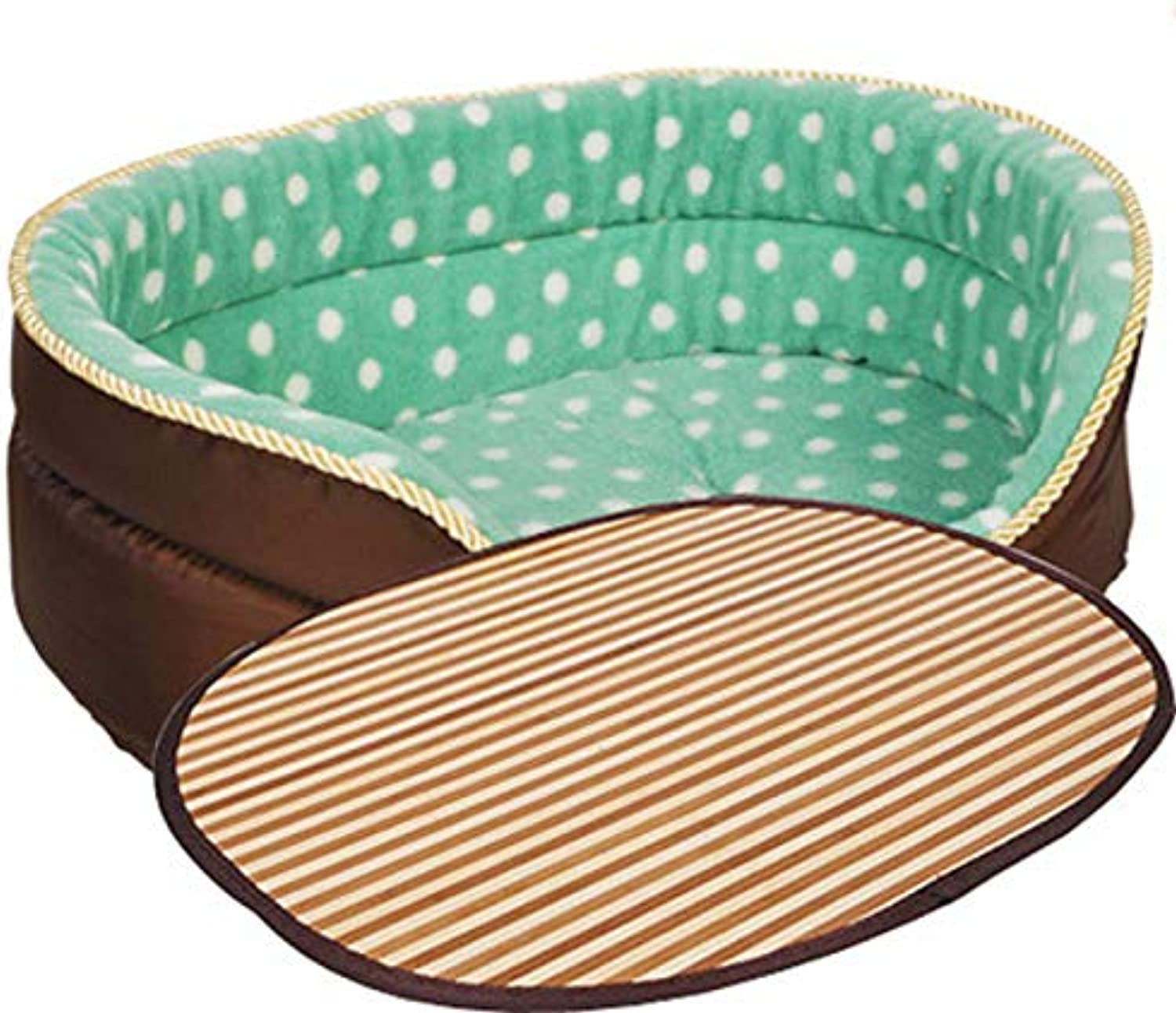 SXHDMY-Pet bed Dog Bed Nest Cool Small Medium and Large Dog Bed (Brown and bluee) (Size   S)