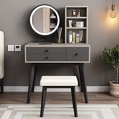 LIYIN Moderner Waschtisch mit beleuchtetem Spiegel, Make-up Schminktisch mit Schubladen für Frauen, Kommode Schreibtisch Waschtisch für Schlafzimmer
