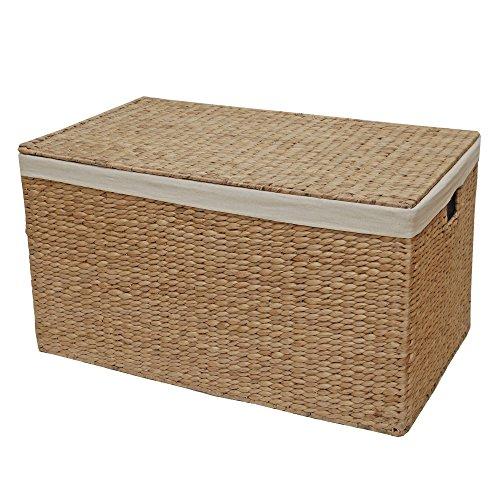 Con forro de mimbre tronco baúl para, cesta de almacenamiento,, natural, Large - L 68 x W 41 x H 36 cm