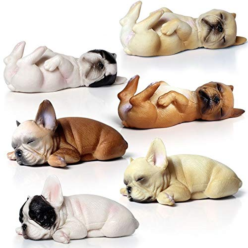 MODEBESO 6PCS Realistic Animal Figures Playset,Sleeping French Bulldog Figurines,Hand Painting Dog Figures ,Educational Toy,Cake Toppers Christmas Birthday Gift for Kids Todllers