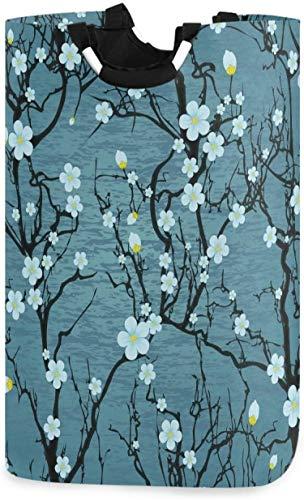 Cesta de la ropa del árbol de Sakura de la flor de cerezo japonesa,cesta de tela plegable para el hogar,bolsa de lavandería con asas