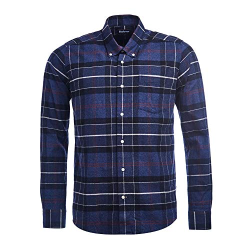 Barbour BACAM2388-MSH LustleLeight Chek Shirt Tailored Hemd aus Warmer Baumwolle 100% Herren Button Down mit Regular Fit Blue Check, Blau 56
