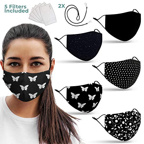 Premium Black Face Mask Set - Reusable Washable Adjustable Earloops - Breathable Face Masks With Nose Clip, and 2 Lanyards