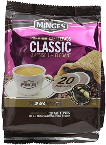 Minges Röstkaffee Classic, 20 Kaffeepads, Aroma-Softpack, 140 g, 6er Pack (6 x 140 g)