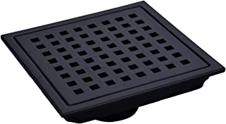 TRUSTMI 6-Inch Square Shower Floor Drain with Removable Grid Grate Cover, SUS 304 Stainless Steel, Matte Black