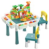 Multi Kids Activity Table Set with 2 Chairs 400+Pcs Building Blocks and 4 Storage Boxes Toy, Double-Sided...