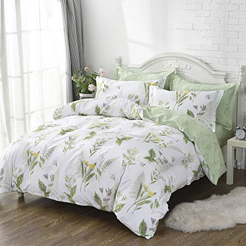 FADFAY Duvet Cover Set Queen Shabby Green Daisy and Lavender Flowers 100% Cotton with Hidden Zipper Closure 3-Piece:1duvet Cover & 2pillowcases Queen Size