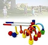 WXFCAS Nbr Material Childrens Croquet Set, Croquet Garden Games para niños con 2 Golpes, 2 goles, 4 Hoyos, Croquet Establece niños para la interacción Entre Padres y niños