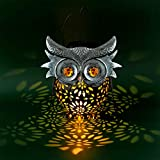 Hanging Hollow Solar Owl LED Light- Waterproof Metal Owl Solar Lantern with Handle Solar Powered LED Garden Light Lamp for Garden Patio Lawn Yard Porch Pathway Parties Decor