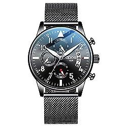 DPOS Men's Watch Ultra Thin Quartz Analog Wrist Watch Date Calendar Dial Stainless Steel Casual Mesh Band