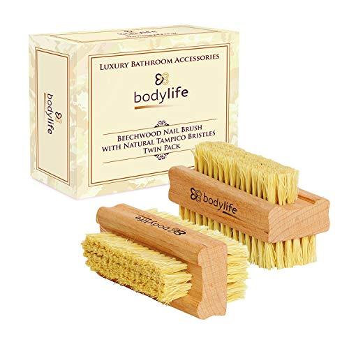 Bodylife Beechwood Nail Brush With Natural Cactus Tampico Bristles Twin...