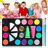 Skymore Body Paint,Kit per La Pittura del Viso per Bambini e Adulti,14 Colori, 4 Spugne Triangolari, 2 Glitter, 2 Fosfori ,2 Pennelli Professionali