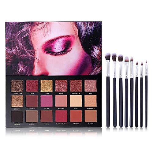 UCANBE fard à paupières de 18 couleurs + kit de pinceaux de maquillage multifonction 8pcs, poudre de fard à paupières mate hautement pigmentée avec ensemble de brosses à cheveux en nylon doux