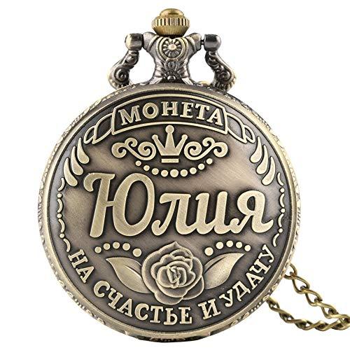 YHBHMF Reloj De Bolsillo Moneda De Recuerdo Rusa De Bronce Retro Reloj