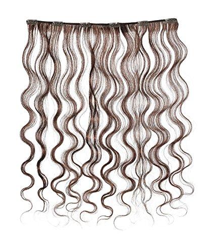 American Dream - A4/QFC12/18/4LB - 100 % Cheveux Naturels - Douce Ondultation - Pièce Unique Extensions à Clipper - Couleur 4LB - Brun Foncé Doré - 46 cm