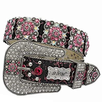 886 EXOTIC COWHIDE WESTERN WOMENS BELTS Cowgirl Bling Belts Rodeo Belts Plus Size Western Belts For Cowgirls (886-EXOTIC-PK, Large)