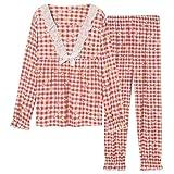 FMXKSW Pijamas de algodón a Cuadros Conjuntos de Ropa de Dormir de Moda para Mujer Pijamas Rosados Bonitos Pijamas de Mujer con Cuello Redondo Ropa de Dormir de Talla Grande M-XXXL, 013, XXXL